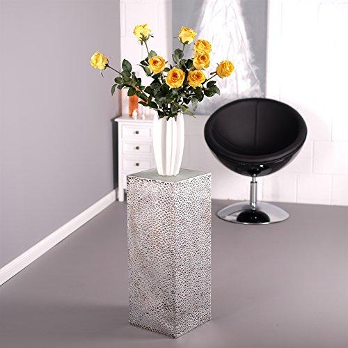 COLONNA DECORATIVO 'PLATA' | colore argento antico, metallo, lastra di vetro satinato, 70 cm |