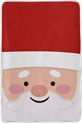 "Ultra Soft Microplush Velvet Cute Santa Pattern Blankets Lightweight Cozy Bed Couch Sofa Blanket,All Season Premium Throw Blanket 60"" x 90"""