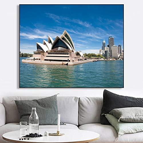 Pintura en lienzo Lugares de interés Ópera de Sydney Arte de la pared Carteles de la ciudad del mar Impresiones Imagen para el diseño del hogar Decoración del dormitorio 40x60cm Sin marco
