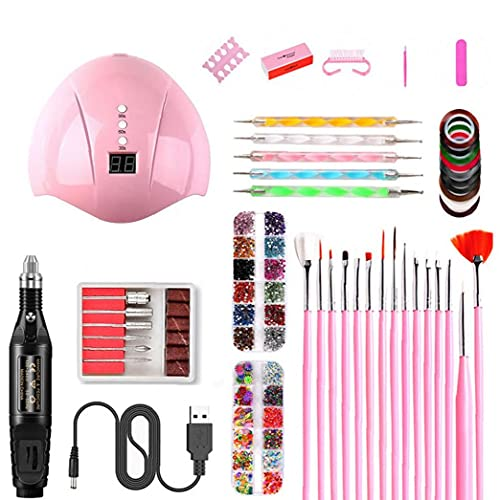 La manicura Conjunto de Esmalte de uñas de manicura DIY Kit de Herramientas de uñas con luz LED Conjunto Secadora eléctrica del Taladro del Clavo