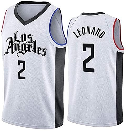 Txuuu Baloncesto Swingman Jerseys Los Angeles Clippers Leonard # 2 Uniforme Retro Gym Sports Top para Hombres,Blanco,L