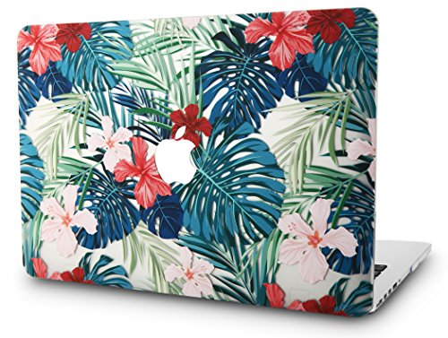 KECC MacBook Air 13' Retina Case (2020/2019/2018, Touch ID) Plastic Hard Shell Cover A2179/A1932 (Palm Leaves Red Flower)