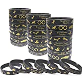 """Package - 24 Pack of Wizard/Witch/Halloween/Harry Theme silicone bracelets are just what you looking for. Size and Content - They are approx. 2.56"""" dia. and 0.5″wide, suit for adults and kids. Includes a variety of wizard/Harry theme spells and eleme..."""