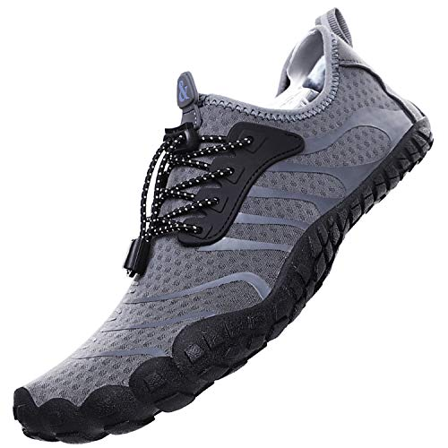 Lvptsh Zapatos de Agua para Hombre Zapatos de Playa Zapatillas Minimalistas de Barefoot Secado Rápido Calcetines de Piel Descalza Escarpines de Verano Deportes Acuáticos,Gris,EU37