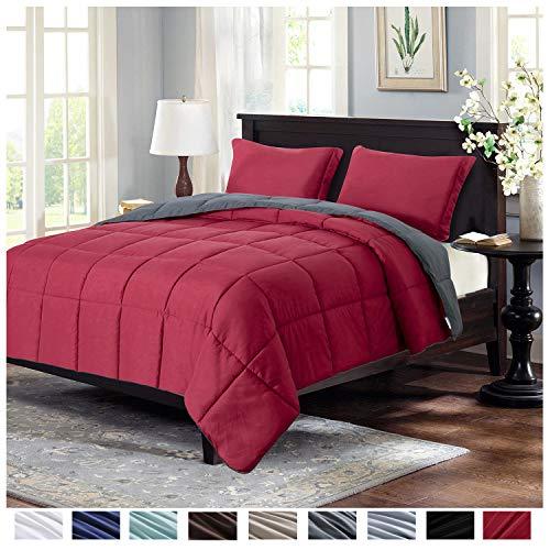 burgundy bed set full - 1