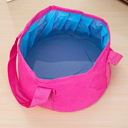 Bassin d'eau pliable portable, sac à pieds de voyage, lavabo de bassin de lavage, seau de lavage des pieds de voyage-Rose rouge
