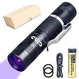 GING UV FLASHLIGHT UV01 365 nm Flash LED Purple Light Identification Handheld Black UV torch AA Batt...