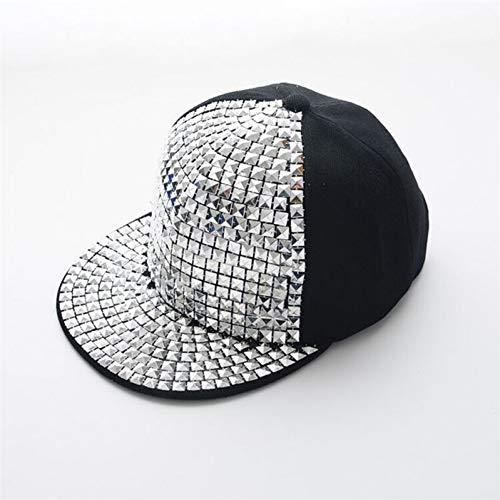 Yhtdhaq Mode Unisex Hut Spike besetzt niet stacheligen Pailletten Baseball Cap für hip hop Rock Dance Freizeit Hut,3