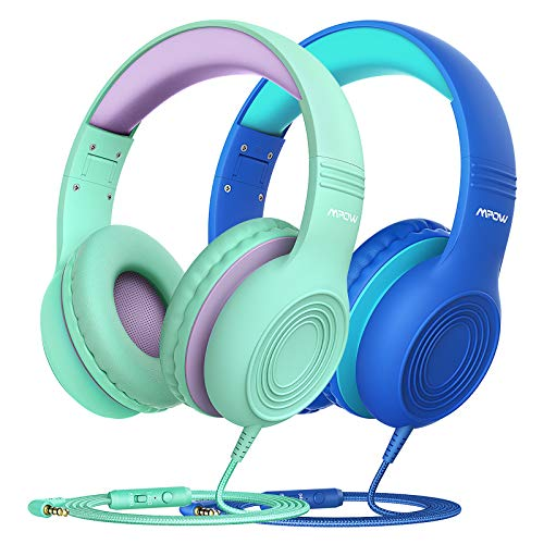 Kids Headphones, CH6S Children Headphone Over Ear, Wired Headset Volume Limited and Sharing Function Child Earphones Foldable Headphones, 3.5mm Jack with Mic for School/Travel/Phone/Kindle/PC(2-pack)