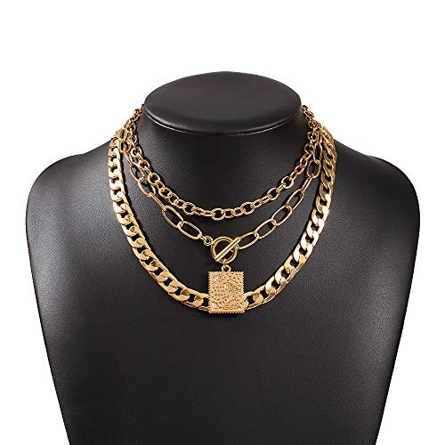 Xpccj Pendant Necklaces Gothic Multi Layered Punk Thick Chain Cuban Necklaces Geometric Pendant Toggle Hip Hop Neck Chain Short Collar Jewelry Jewelry Gifts (Metal Color : Geometric)
