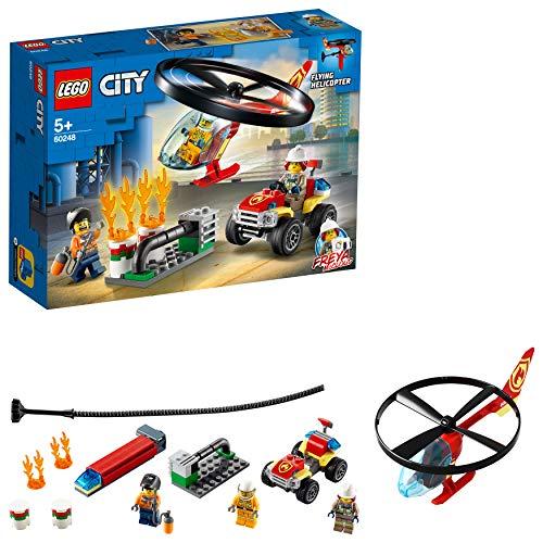 LEGO City Fire – Intervención del Helicóptero de Bomberos, Juguete de Construcción con Helicóptero, Incluye un Quad de Bomberos y 3 Minifiguras (60248)