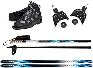 Whitewoods 75mm 3Pin Cross Country Ski Package; Boots, Bindings, Poles, Skis 197cm (for skiers 151-180 lbs.)