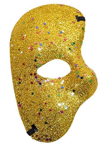 KIRALOVE Media máscara Facial - Fantasma de la ópera - Coloreada con Brillo - Disfraz - Carnaval - Halloween - Cosplay - Color Dorado Glitter Cosplay