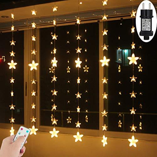 LED Lichtervorhang Sterne Warmweiß Fenster für Innen Außen Weihnachten Geburtstag Party Hochzeit IP44 24V Niederspannung 8 Modi mit Timer Dimmbar 144er LEDs Lichterkette 2M x1,5M Weihnachtsbeleuchtung