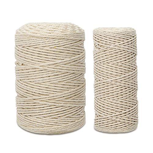 ANWING Paquete de 2 cuerdas de algodón de macramé natural en total de 300 m, 4 hebras de 328 pies de cuerda blanca natural para manualidades, tejer, decoración de Navidad y boda