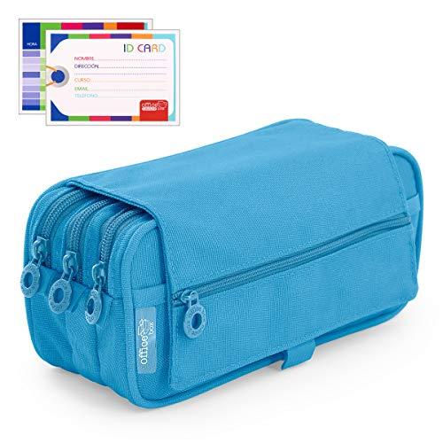 Estuche Portatodo Triple de Amplios Apartados Interiores con Tres Cremalleras para Material Escolar o Neceser. Azul Claro