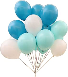 AnnoDeel 50 pcs 12inch Blue Balloons, 3 Color Pearl Latex Balloons(Blue Balloons/Green Balloons/White) for Birathday Wedding Party Decoratons