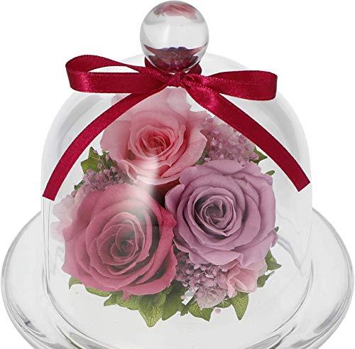 プリザーブドフラワーギフト ガラスドーム 誕生日 お祝い 敬老の日 セシル (ピンクラベンダー)