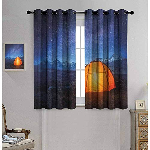 Night 100% blackout lining curtain Camping Tent Under a Night Sky Full of Stars Holiday Adventure Exploring Outdoors Full shading treatment kitchen insulation curtain W63 x L72 Inch Blue Orange