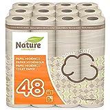 NATURE Papel higiénico doméstico, de celulosa nature: 48 rollos de 22,4 m. c/u; 1075,2 metros totales de papel de baño