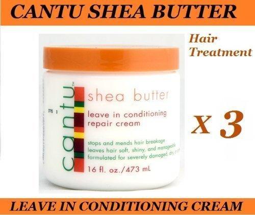 3 x CANTU SHEA BUTTER LEAVE IN CONDITIONER / HAIR REPAIR CREAM 473ml by Cantu