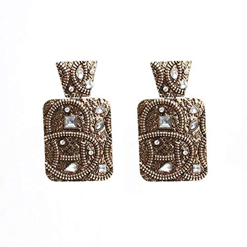 Gymqian Women Handmade Earrings Retro Geometric Metal Earrings for Woman Party Casual Creative Colored Rhinestone Earrings 1 Retro / 2