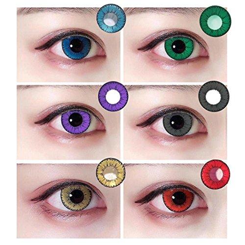 Sisaki Farbige Kontaktlinsen Jahreslinsen - verschiedene Farben, unterschiedliche Haptik und Charme - Gesamtdurchmesser: 14 mm - Wassergehalt: 38%- Weich und einfach zu tragen.