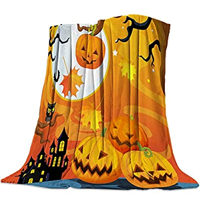 Arts Language Flannel Fleece Throw Blanket for Couch Bed Halloween Haunted Mansion Soft Cozy Lightweight Bed Blanket for Kids/Adults/Girls/Boys