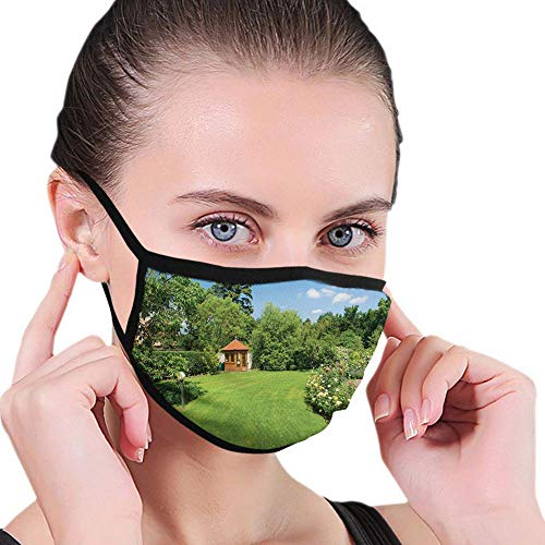 Face Guard Mouth Guard Garden,Peaceful Countryside Landscape with Blooming Roses Brick Path and a Small Gazebo,Multicolor,Printed Facial Decorations