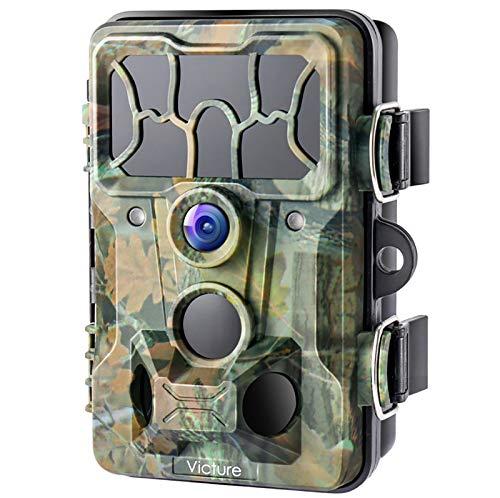 Victure 20MP Wildkamera mit 32 GB SD Card 1080P Full HD 130° Weitwinkel Vision Infrarote Nachtsicht wasserdichte IP66 wasserdichter Jagdspielkamera