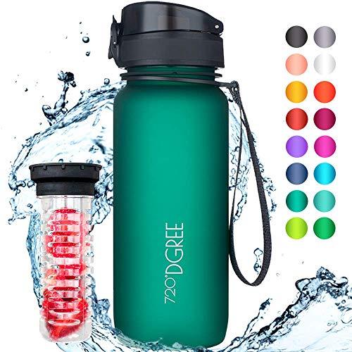 """720°DGREE Trinkflasche """"uberBottle"""" - 650 ml, 0,65 l, Grün, Gruen - Neuartige Tritan Wasser-Flasche - Water Bottle BPA Frei - Ideale Sportflasche für Kinder, Fitness, Fahrrad, Sport, Fussball"""