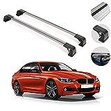 OMAC Fits BMW 3 Series F30 Sedan 2012-2018 Silver Roof Rack Crossbars | Aluminum Lockable Top Cargo...