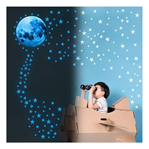 LiKin Estrellas Fluorescentes para Techo,166 Piezas Luminosas Pegatina Luna Y Estrellas para Techo Chico Niña Bebé