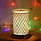 UNISOPH Bruciatore a Cera per aromaterapia, bruciatore a Cera elettrica da 40 W 110-240 V Lampade elettriche a Cera con Luce sensibile al Tocco e lampadine G9 (Motivo a Rombi Grigi)
