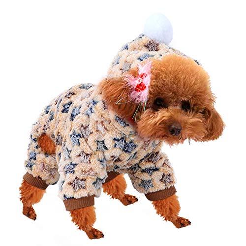 Fydun Abrigo de Invierno para Perros, Chaquetas de Franela Sandy para Perros, Ropa de Mono para Perros de Clima frío, Pijamas cálidos de Invierno, Disfraz de Estrella para Gatos y Perros(XS)