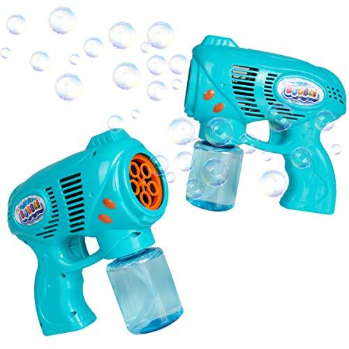 KreativeKraft Maquina Pompas de Jabon, Pomperos para Niños, Pistola Juguete Burbujas para Interior Exterior, Incluye Bote Jabon Pompas, Regalos para Niños Originales