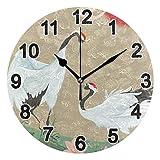 FULUHUAPIN Reloj de pared para cocina, diseño de grúa y pájaro, para niña, no hace tictac, silencioso, fácil de leer, para decoración de dormitorio, 22.5 cm, reloj redondo 20301379
