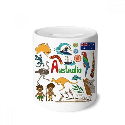 DIYthinker Australien Landschaft Tiere NationalFlaggege Geldkasten Sparkassen Keramik Münzfach Kinder Erwachsene 3.5 Zoll in Height, 3.1 Zoll in Duruchmesser Mehrfarbig