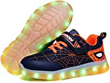 Kids LED Light Up Shoes Rechargeable Luminous Sneakers Trainers for Boys Girls New Spiderman (Orange,10 Toddler)