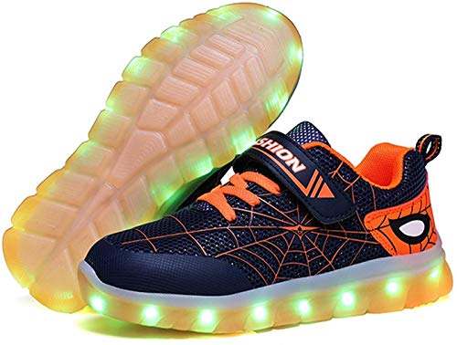 Kids LED Light Up Shoes Rechargeable Luminous Sneakers Trainers for Boys Girls New Spiderman (Orange,9 Toddler)