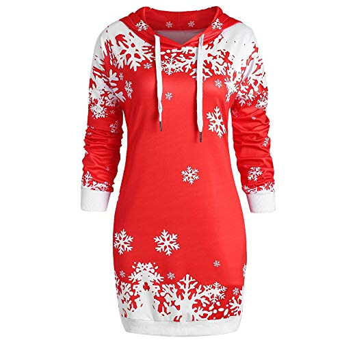 OSYARD Weihnachts Pullover Kleid Slim Fit Christmas Hoodie Sweatshirt Damen, Mode Frauen Langarmshirt Frohe Weihnachten Snowflake Printing Tops Cowl Neck Strickpullover Lang Bluse Shirt mit Kapuze