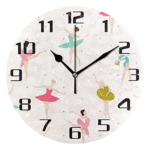 Lewiuzr Reloj de Pared Color Bailarinas de Ballet niñas silencioso Reloj Redondo sin tictac para el hogar Sala de Estar Cocina Oficina Escuela decoración