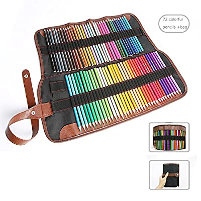 72 Pencils Case,Canvas Roll up Wrap Bag Pouch For Gen Pens,Colored Pencils Set(Colored Pencils Not Included)