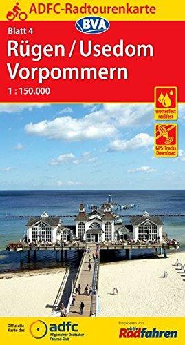 ADFC-Radtourenkarte 4 Rügen/Usedom Vorpommern 1:150.000, reiß- und wetterfest, GPS-Tracks Download (ADFC-Radtourenkarte 1:150000)