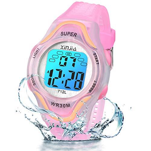 Kinder Digitaluhren, 7 Farben LED-Licht Kinder Sport Armbanduhr Jungen Wasserdicht Kinderuhr mit Alarm Stoppuhr, Kinderuhren Outdoor Armbanduhr für Jungen Mädchen (pink)