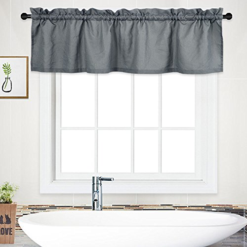 NANAN Curtain Valance,Waterproof Waffle Woven Textured Valance for Bathroom Short Window Curtain,Rod Pocket Tailored Kitchen Valance Curtain Cafe Curtains - 60' x 15', Grey, One Panel