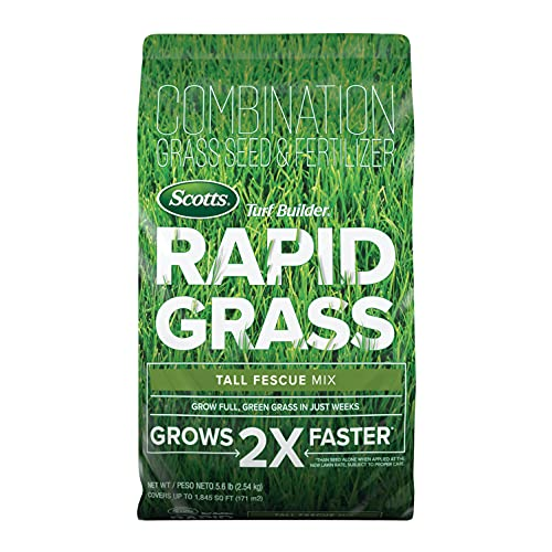 Scotts Turf Builder Rapid Grass Tall Fescue Mix: up to 1,845 sq. ft., Combination Seed & Fertilizer, Grows in Just Weeks, 5.6 lbs.