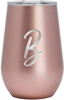 Mira 12 oz Monogram Insulated Wine Glass Tumbler with Lid | Monogrammed Personalized Stemless Stainless Steel Wine Cup | Rose Gold | B