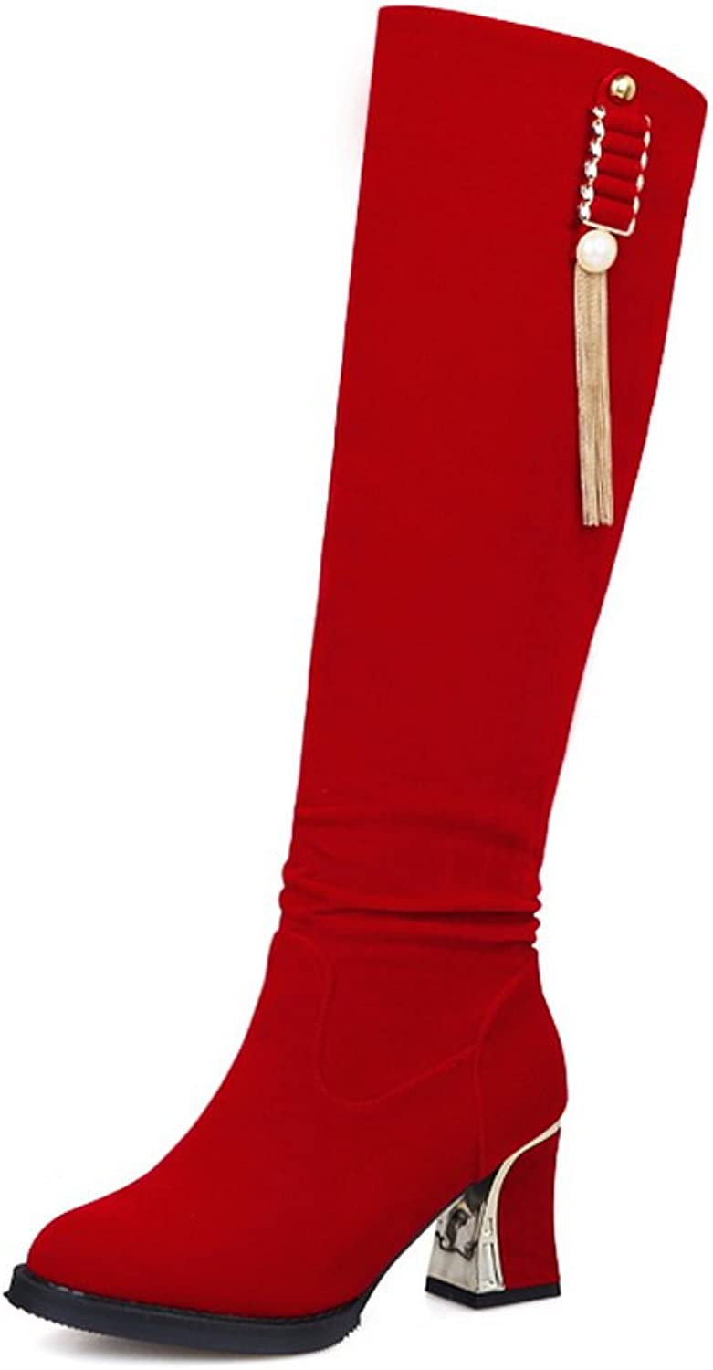 1TO9 Womens Boots Closed-Toe Zip Mid-Heel Solid Warm Lining Rubber Not_Water_Resistant Patent Leather Road Suede Cold-Weather Suede Boots MNS02036
