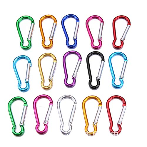 WenJiaShanGDSH Carabiner 30PCS Aluminum Carabiner Key Chain Clip Outdoor Camping Keyring Snap Hook Water Bottle Travel Kit Climbing Accessory For hiking, camping, traveling, (Color : 46x23mm Size 5)